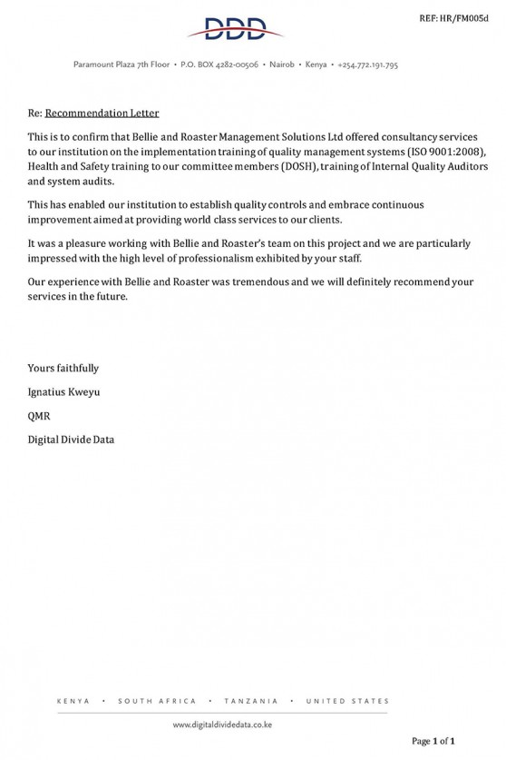 Digital Divide Data (DDD) Recommendation Letter
